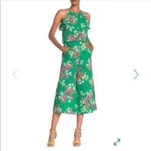 Floral Ruffled Keyhole Culotte Jumpsuit
